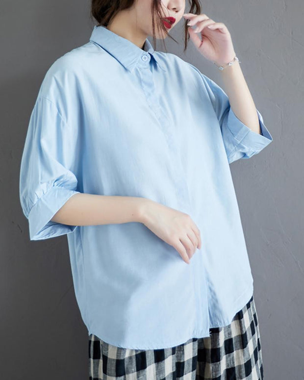 Solid Button Down Loose  Blouse