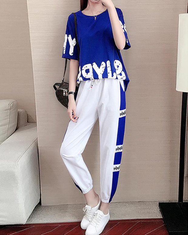 Contrast Letter Print Two-Piece Set