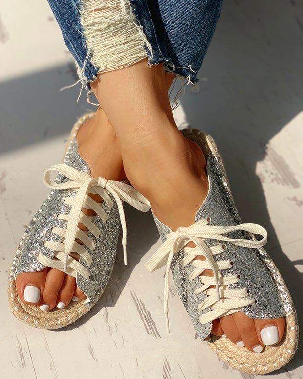 Sequins Lace-Up Espadrille Casual Flat Sandals