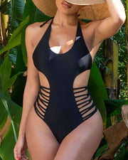 Ladder Cutout Halter Backless One Piece Swimsuit
