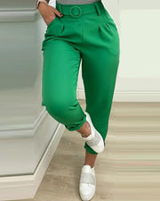 Pocket Design High Waist Casual Pants With Belt