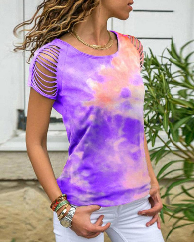 Tie Dye Cut Out Sleeve T-Shirt