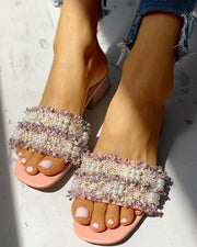 Beaded Design Chunky Heeled Sandals