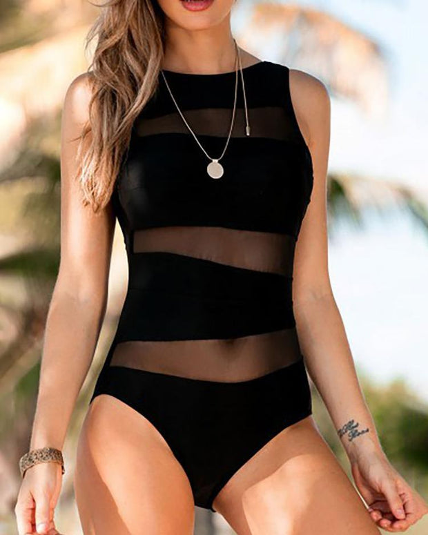 Mesh Insert Sleeveless One Piece Swimwear