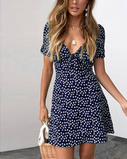 Floral Dot Tie Front Mini Dress