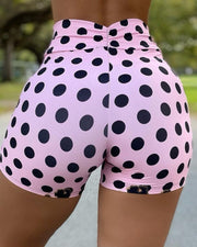 Polkadot Print Drawstring High Waist Sporty Shorts