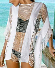 Tassel Detail Mesh Cover Up