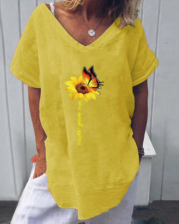 Butterfly & Sunflower T-Shirt