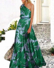 Hawaii Floral Print One Shoulder A-line Long Dress