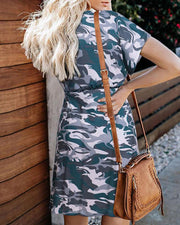 Camo Print Tie Waist Mini Dress