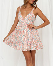 Floral V-Neck Tie Strap Mini Dress
