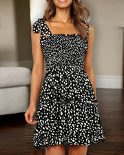 Square Neck Tied Strap Floral Print Dress