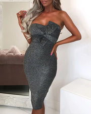 Glitter Off Shoulder Bowknot Bodycon Dress