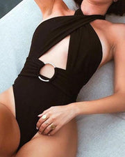 Halter Keyhole One-Piece Swimsuit