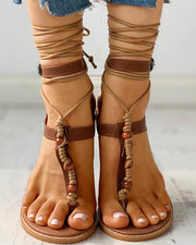 Bandage Design Toe Post Flat Sandals