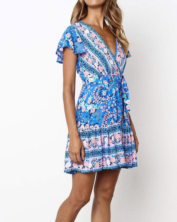 Bohemian V-Neck Tie Waist Dress