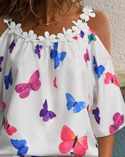 Floral Applique Butterfly Print Cold Shoulder Top