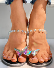 Butterfly Pattern Toe Ring Beaded Flat Sandals