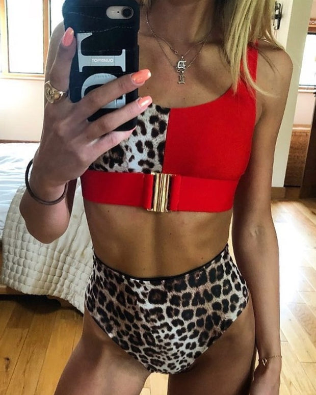 Colorblock Leopard Print Buckle Tankini Set