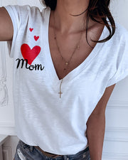 Heart Letter Print V-neck Casual T-shirt