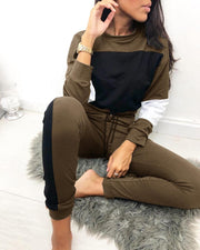 Round Neck Colorblock Insert Top & Drawstring Pants Sets