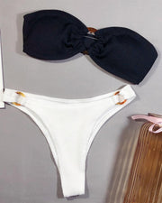 Colorblock Tube O-Ring Detail Bikini Set