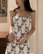 Butterfly Print Wide Strap Cami Dress