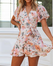 Floral V-Neck Mini Dress