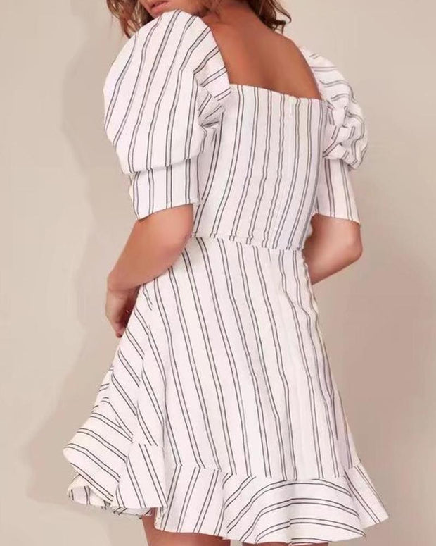 V-Neck Striped Backless Dress