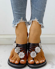 Beaded Design Casual Flat Sandals