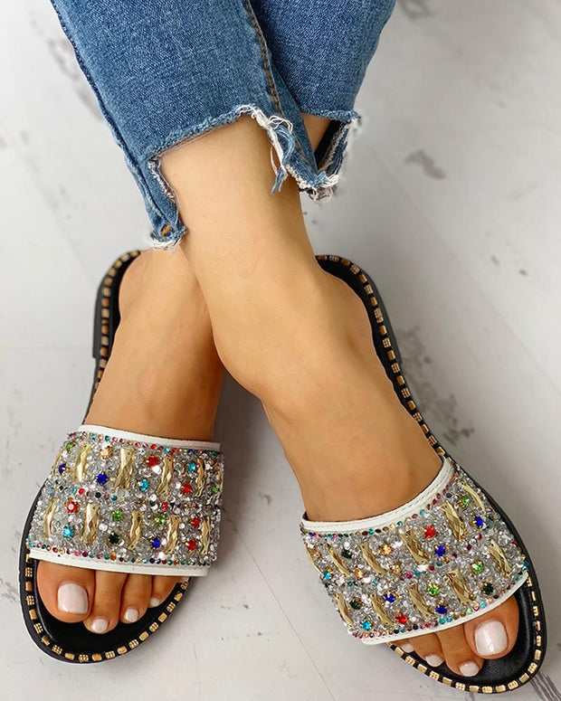Colorful Studded Sequins Detail Flat Sandals