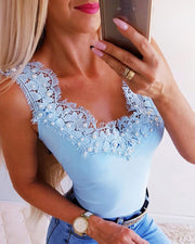 Beaded & Lace Embellished Sleeveless Top
