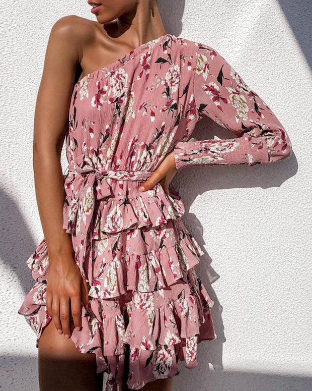 Floral Layered Ruffle Dress