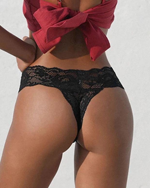 T-back Lace Briefs Low Waist Ultra-thin Thong Panty