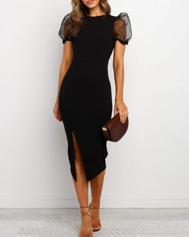 Mesh Sleeve Midi Dress