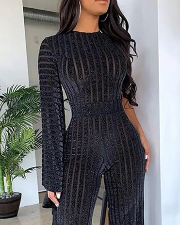 Sheer Pinstripes Long Sleeve Wide Leg Jumpsuit