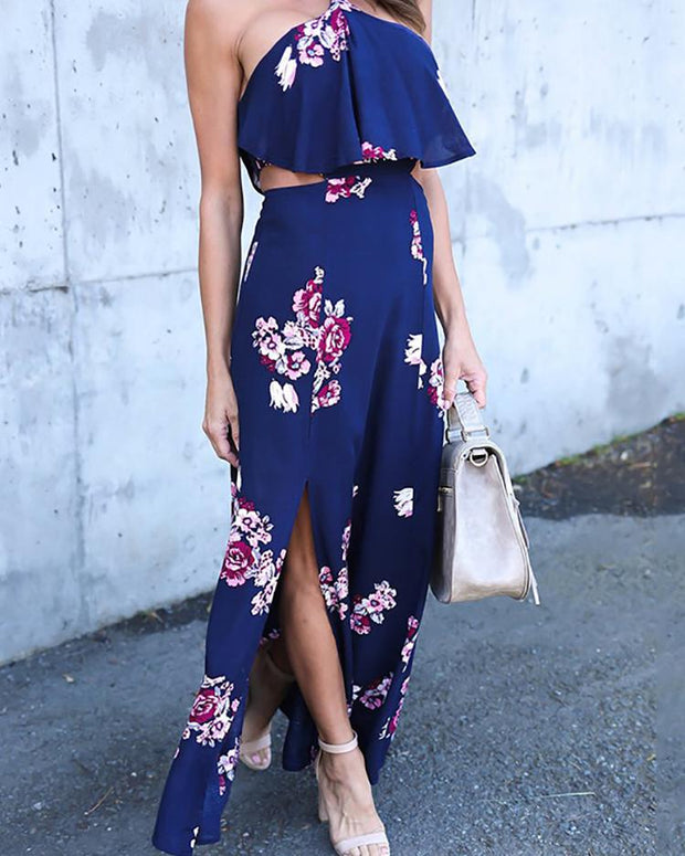Floral Print Ruffled Halter Cutout Split Maxi Dress