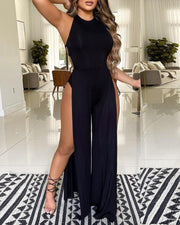 Crisscross Backless High Slit Jumpsuit