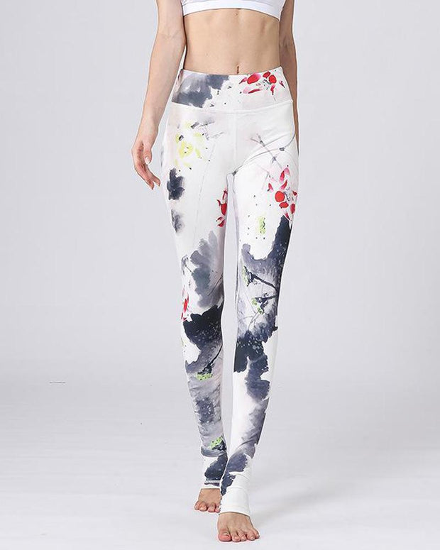 Floral Lotus Print Sports Leggings