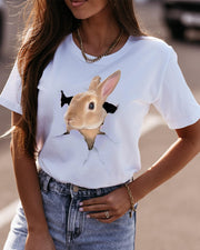 Easter Rabbit Print Short Sleeve Loose T-shirts