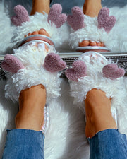 Fluffy Heart Pattern Flat Slipper