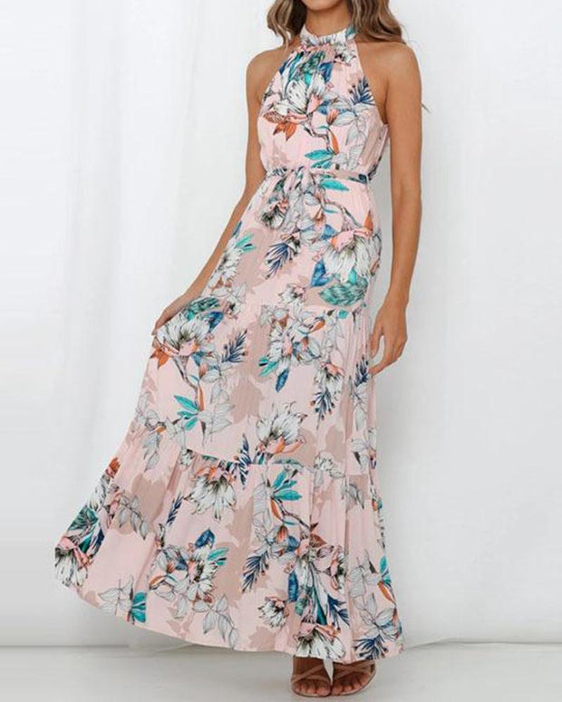 Halter Neck Floral Maxi Dress