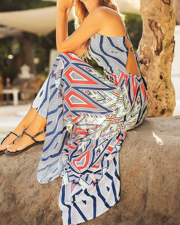 Lace-Up Backless Thigh Slit Geo Print Maxi Dress