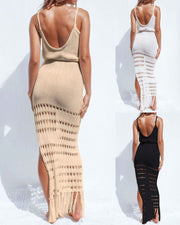 Fringe Hollow-out Backless Design Maxi Dress