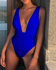 Plunge Sleeveless One Piece Swimwear