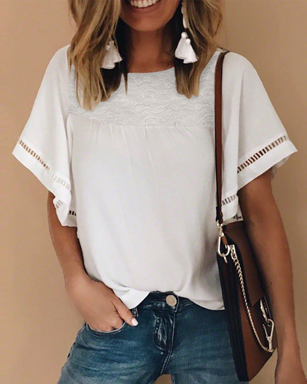 Lace Insert Hollow Out Casual T-shirt