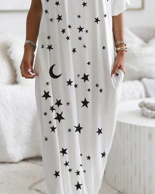 Stars Print Eyelet Lace-up Casual Dress