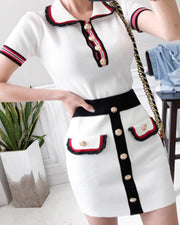 Contrast Trim Knit Two-Piece Set