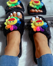 Sunflower Pattern Fluffy Open Toe Flat Slipper