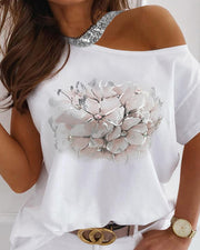 Floral Print Sequins Cold Shoulder Short Sleeve Top
